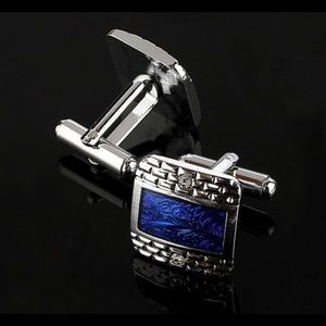 Other - Luxury White Rhinestone Blue Square Cuff Links